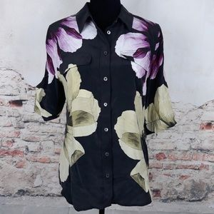 Equipment Short-Sleeve Floral-Print Silk Blouse